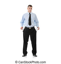 Sad and broke businessman - Sad and broke business man with...
