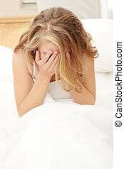Insomnia or depression concept - Young caucasian female on...