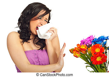 Spring allergy - Young woman sneeze and trying to stop a...