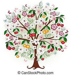 Decorative cherry tree with flowers, berries and butterflies...