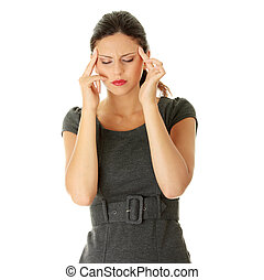 Young business woman with headache, isolated on white...