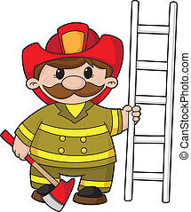 firefighter - illustration of a firefighter with the...