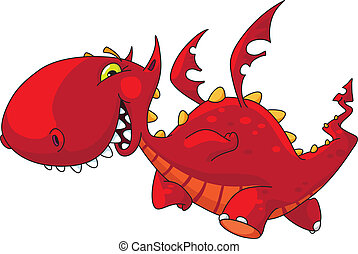 funny dragon - An illustration of a funny red dragon