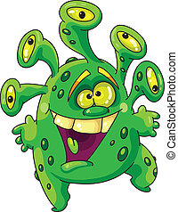 funny green monster - Illustration of a funny green monster