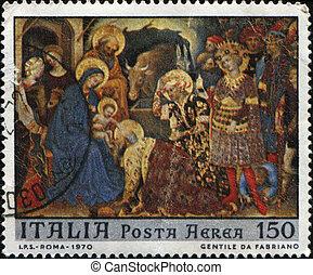 Gentile da Fabriano - ITALY - CIRCA 1970: A stamp printed in...