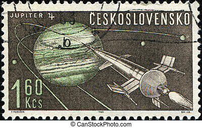 Jupiter 4 - CZECHOSLOVAKIA - CIRCA 1963: A stamp printed in...
