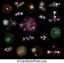 Big collection of 18 real fireworks isolated on black...