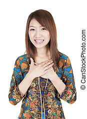 traditional malay greeting - asian girl on traditional malay...