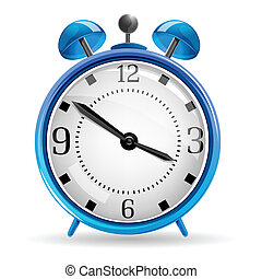 alarm clock - illustration of alarm clock on white...