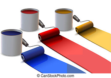 colorful paint rollers - illustration of colorful paint...