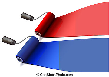 paint rollers - illustration of colorful paint rollers on...