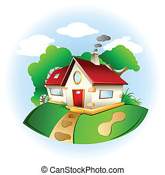 sweet home - illustration of home surrounded by nature