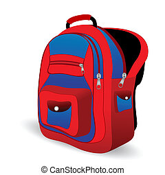 school bag - illustration of school bag on white background