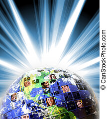 Global Worldwide Network of People - Illustrated montage of...