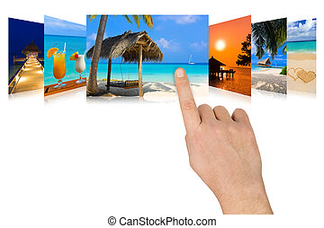 Hand scrolling summer beach images - nature and tourism...