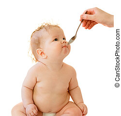 pequeno, baby-girl, alimentação