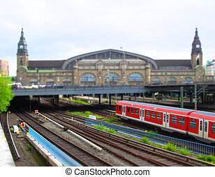Train station of Hamburg, Germany - Toy city imitation based...