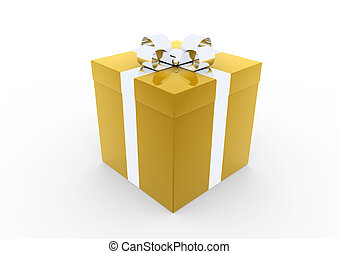 3d gold silver gift box isolated white background