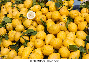 sicilian citron - heap of italian citrons at the market -...