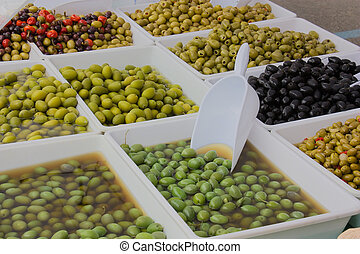 olives in pickle - olives salted preserved in brine or...