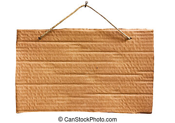 hanging cardboard sheet - clipping path - empty notice of...