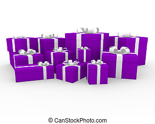 3d purple pink white gift box isolated white background