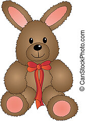 Cute Vector Easter Bunny with Bow