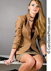 sexy business woman - sexy provocative business woman at...