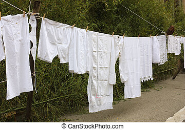 old laundry line - old underwear hanging out to dry - hang...