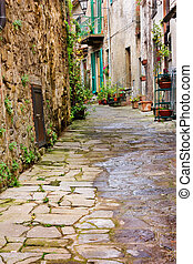 old alley - old narrow alley in tuscan village - antique...