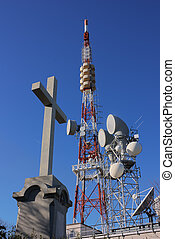 religion and technology - cross near radio tv telephone air,...