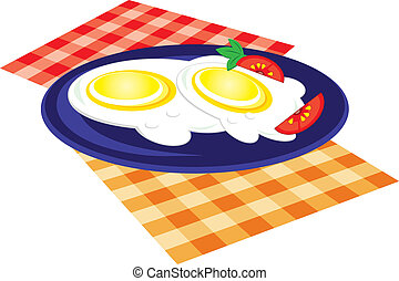 Lunch is fried on a plate. Vector illustration on white