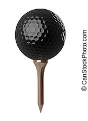 Black Golf ball on tee - 3d Black Golf ball on tee on white...