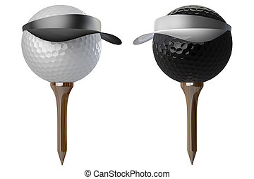 3d golf balls wearing caps