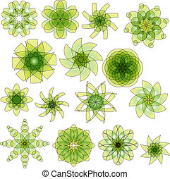 Green and yellow vector ornaments