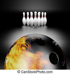 fire bowling ball   - 3d render of a fire bowling ball