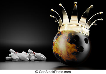 king of bowling - 3d render of the bowling ball king