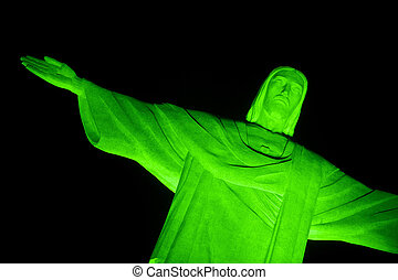 Christ the redeemer - Christ the Redeemer in a fog night