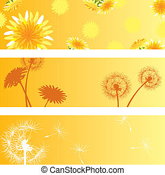 Dandelion baneers set - Illustration vector.