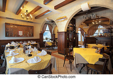 Restaurant Interior - Tables, chairs and lighting equipment...