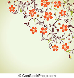 Floral frame with ladybug, element for design, vector...