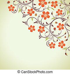 Floral frame with ladybug, element for design, vector...
