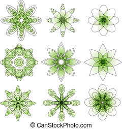 Green Ornament collection vector