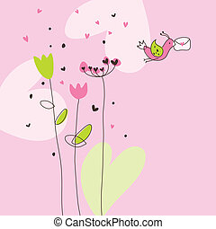 Greeting card - Cute drawing with copy space