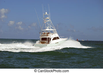 Sport Fishing Boat - Chartered sportfishing boat leaving...