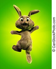cute bunny - 3d rendered illustration of a funny jumping...