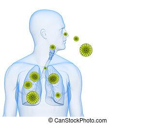 pollen allergy illustration - 3d rendered illustration of a...