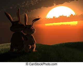 lovely bunnys - 3d rendered illustration of two rabbits...