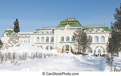 Khabarovsk Train Station recently renovated with statute of...