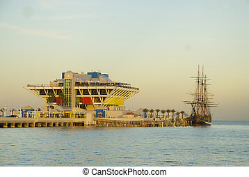 St Petersburg Pier with ship from Mutiny on the Bounty in...